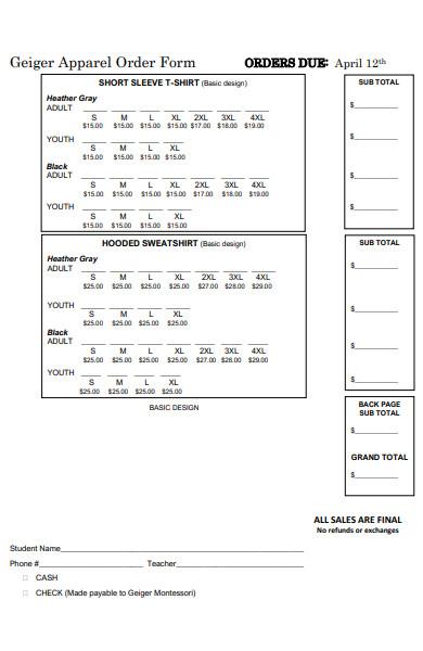 short selves apparel order form
