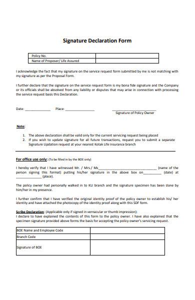 signature declaration form