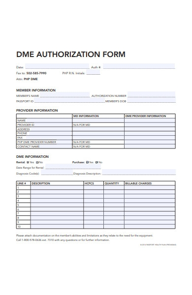 simple authorization form