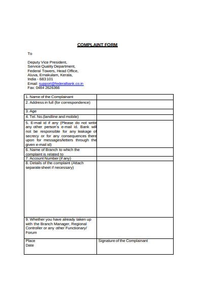 simple complaint form
