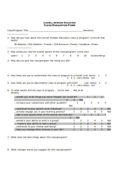 simple course evaluation form