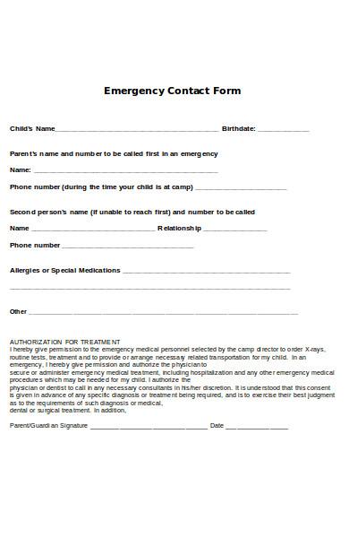 simple emergency form