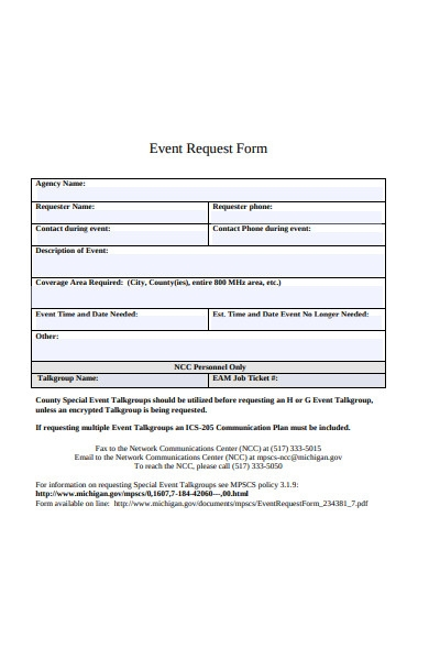 simple event request form