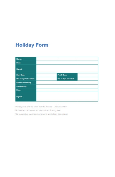 simple holiday form