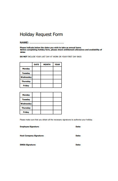 simple holiday request form