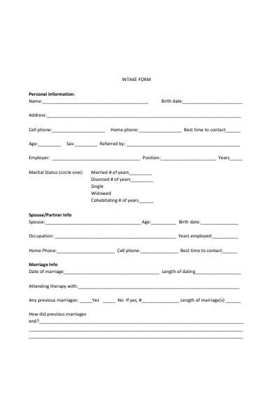 simple intake form