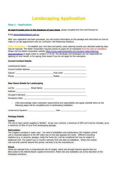 simple landscaping application form