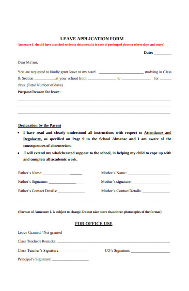 simple leave application form