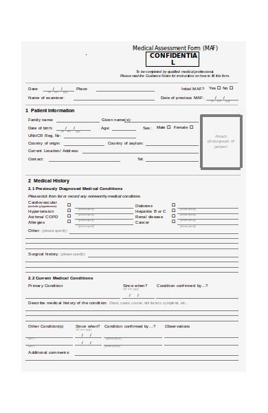 simple medical evaluation form