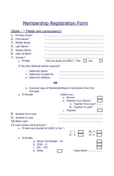 simple membership registration form in pdf