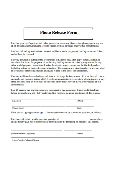 simple photo release form