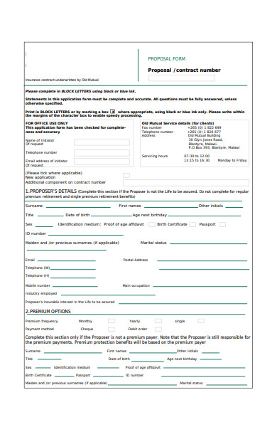 simple proposal form