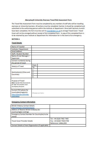 simple risk assessment form