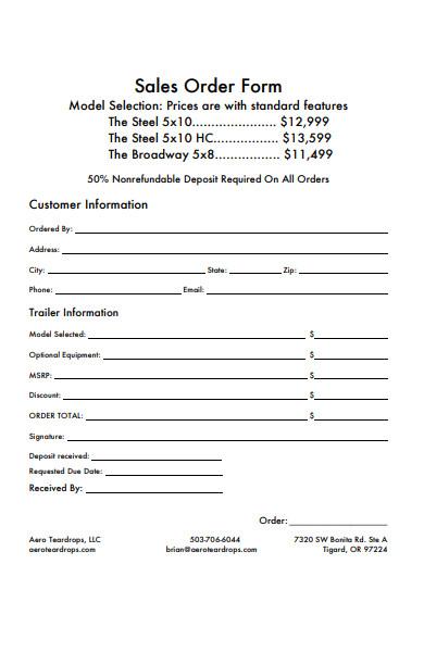 simple sales order form in pdf