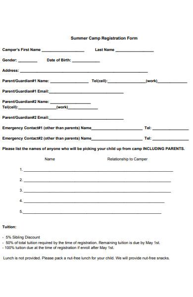 simple summer camp registration form