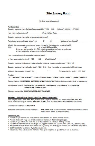 site survey form