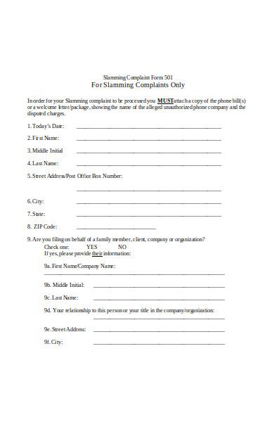 slamming complaint form