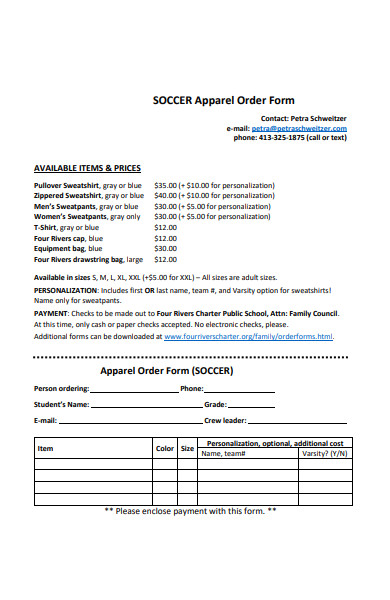soccer apparel order form