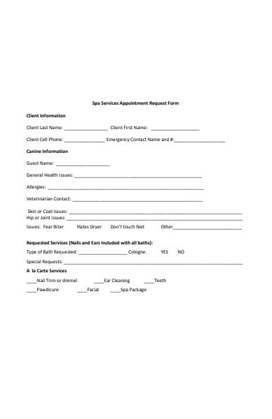 spa services appointment request form