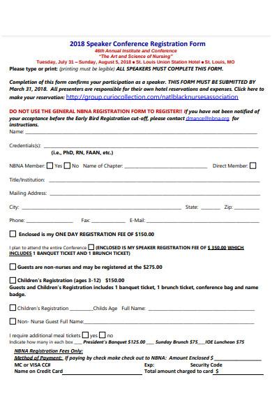 speaker conference registration form