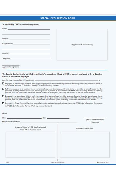 special declaration form