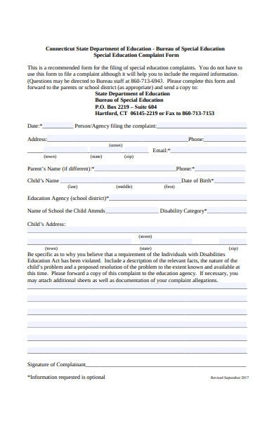 special education complaint form