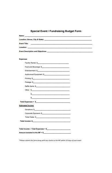 special event budget form