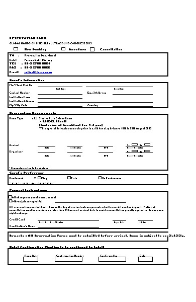 special hotel booking form