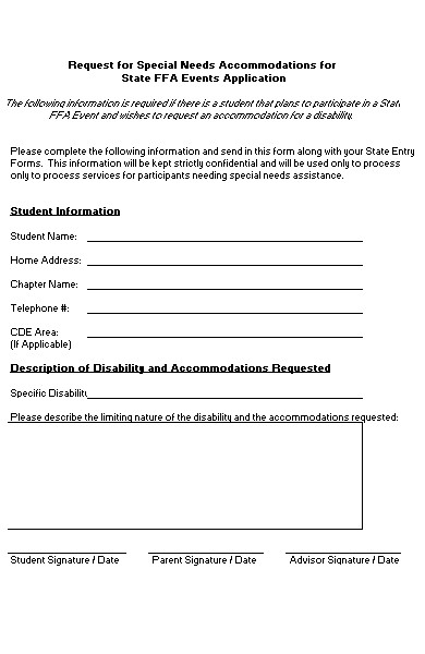 special needs accommodation request form