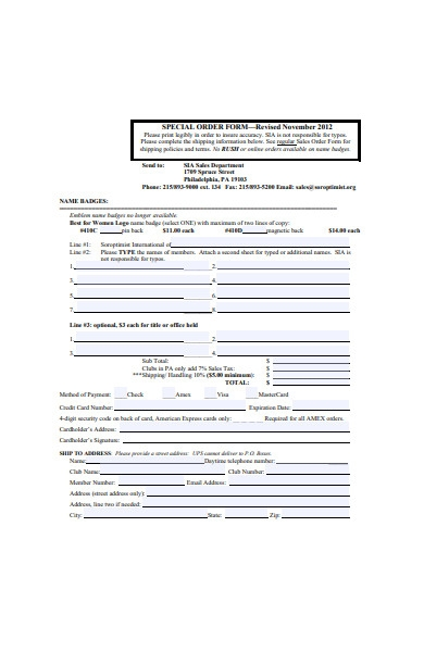 special order sales form