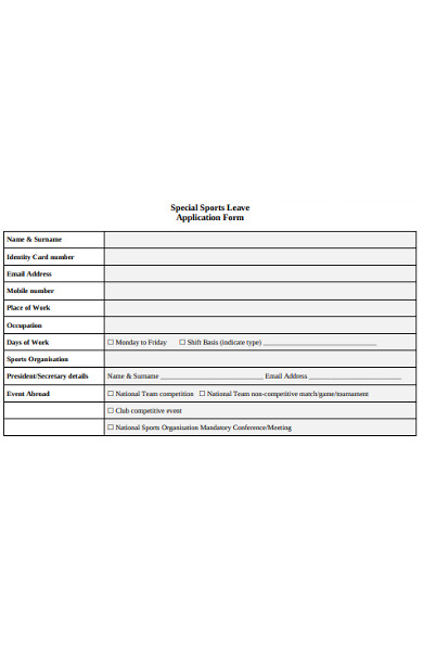 special sports leave application form