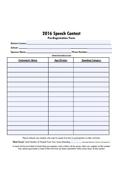speech contest pre registration form