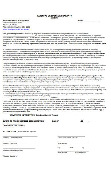sponsor guarantor form