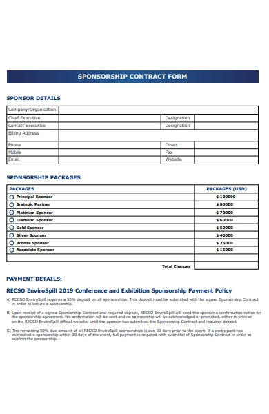 sponsorship contract form