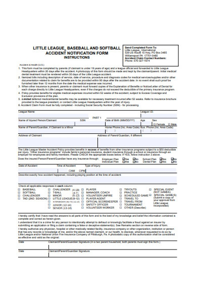 sports accident notification form