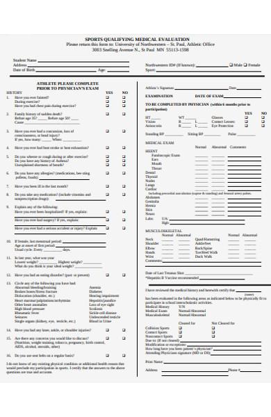 sports qualifying medical evaluation form