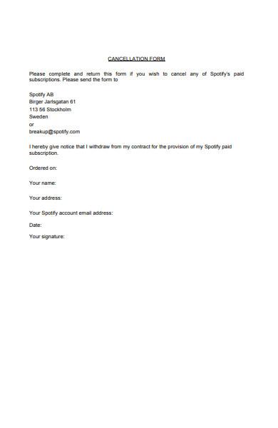 spotify cancellation form