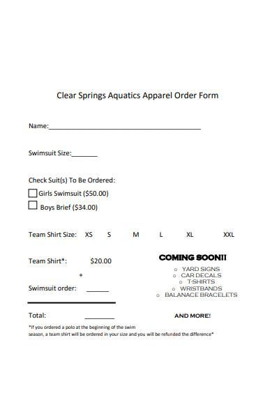 spring apparel order form