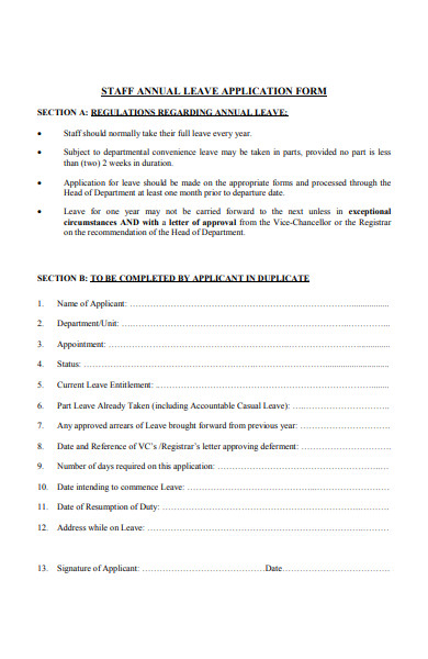 staff annual leave application form
