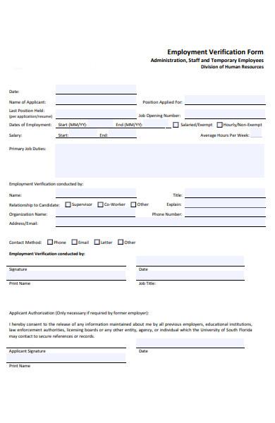 staff employment verification form