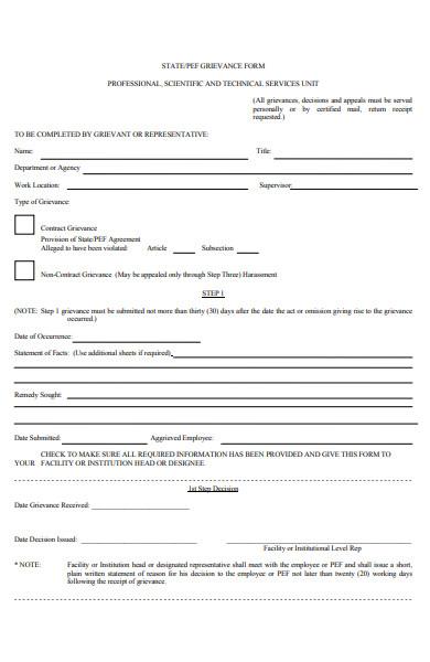 staff grievance form