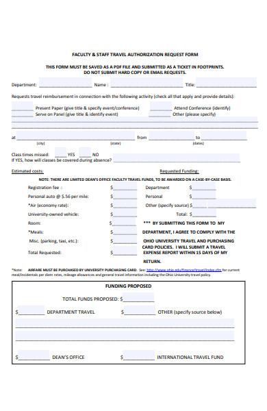 staff travel authorization request form