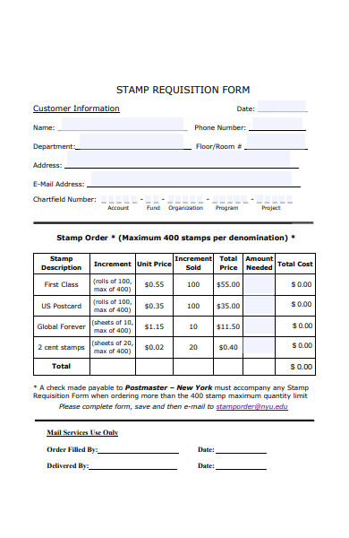 stamp requisition form
