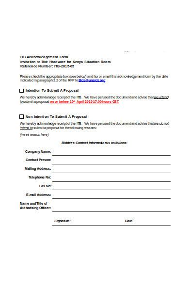 standard acknowledgement form