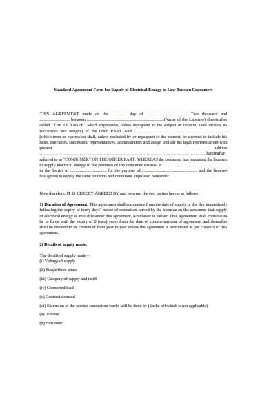standard agreement form sample