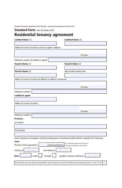 standard agreement form