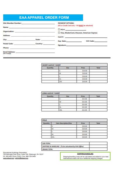 standard apparel order form