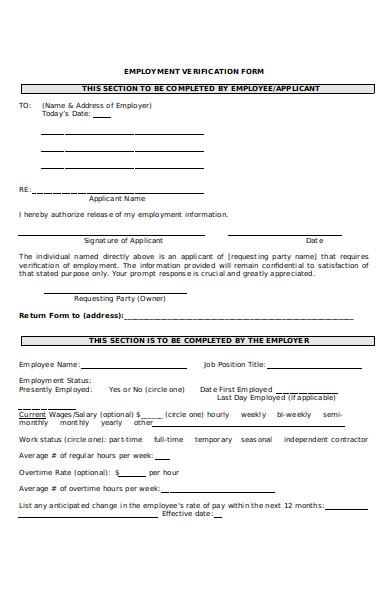 standard employment verification form