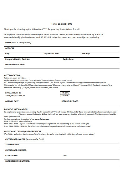 standard hotel booking form