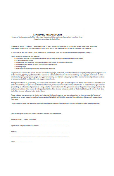 standard release form